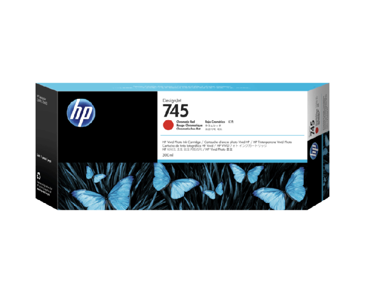 HP 745 Designjet Ink Cartridge - 300ml Red Chromatic