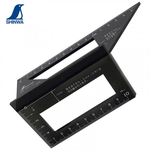Shinwa 62112 - 169x63x73mm Polycarbonate Saddle Layout Gauge / Siku Jepang