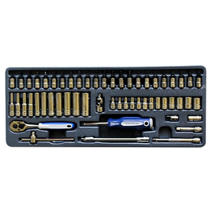 """BluePoint 56 Pcs - Modular Kunci Sok 1/4"""" Set"""