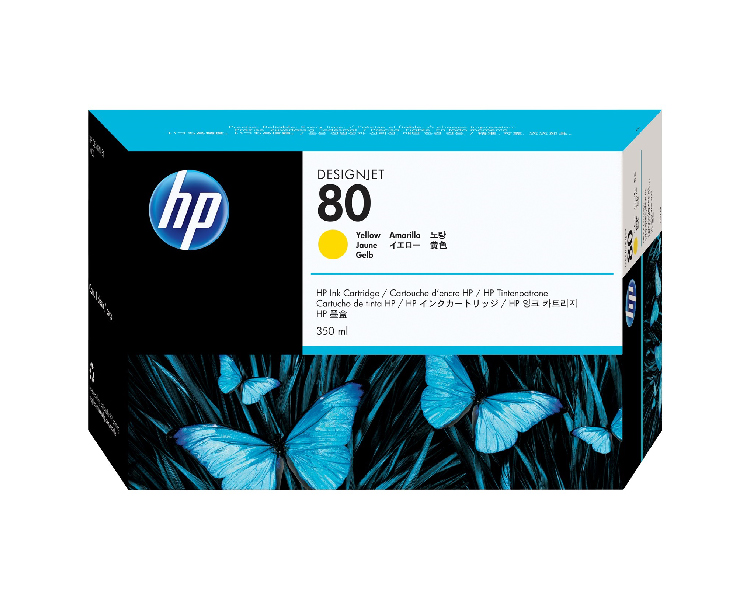 HP 80 Designjet Ink Cartridge - 350 ml Yellow
