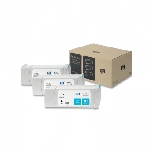 HP 81 Cyan Ink Cartridge 3-Pack 680ml