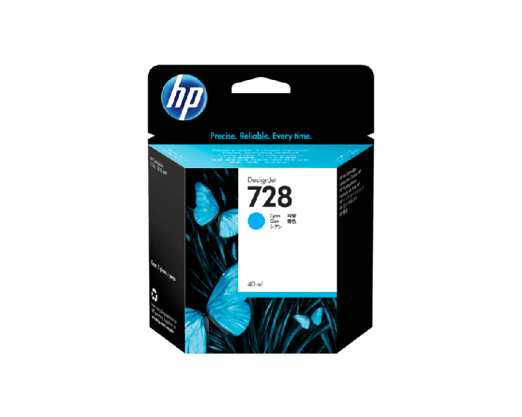 HP 728 Designjet Ink Cartridge - 40 ml Cyan