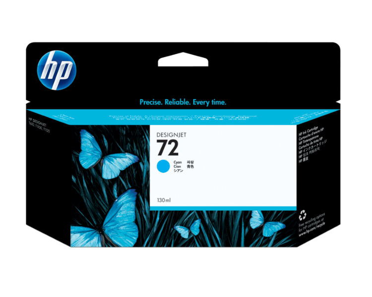 HP 72 Designjet Ink Cartridge - 130 ml Cyan