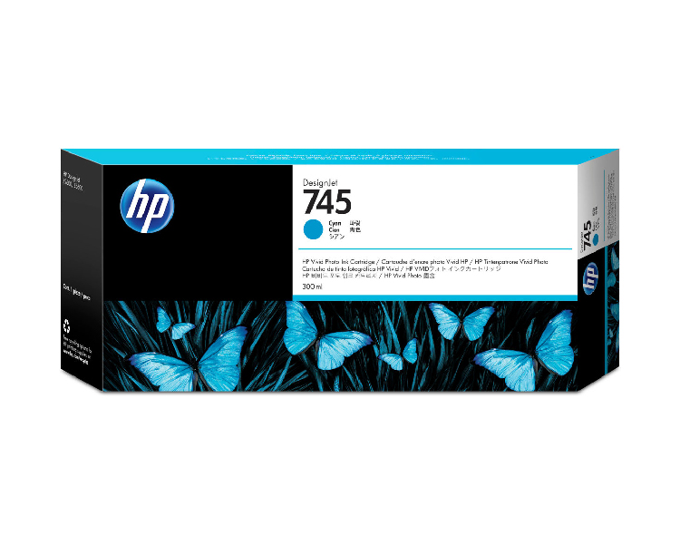 HP 745 Designjet Ink Cartridge - 300ml Cyan