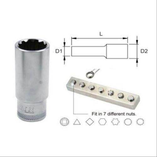 "Jonnesway Panjang - 14 mm - 9/16"" - E18 Mata Kunci Sok Super Tech"